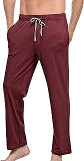 YAOMEI Men's Pyjamas Bottoms Long, Cotton Drawstring Lounge Pants Plain Nightwear Underwear Casual Trousers Elastic Waistband for Sleeping Yoga Sports Leisure Time