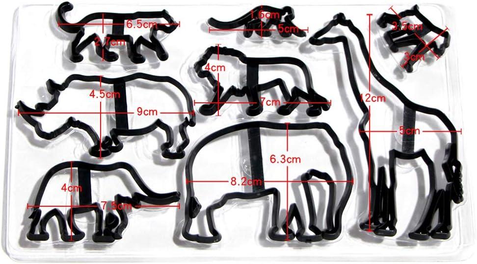 Tangpingsi 8 PZ Taglierina per Biscotti Animali di Plastica Elefante Leone Giraffa Leopardo Fondente Tagliapasta Safari Silhouette Stampo per dolci Strumenti per decorare la torta