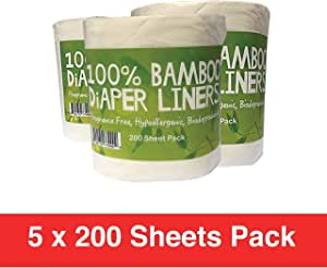 Comfy Solutions Bamboo Nappy Liners Natural and Unbleached Biodegradable Anti-Bacterial Hypoallergenic Alcohol Free Fragrance Free (1000 Sheet Pack)
