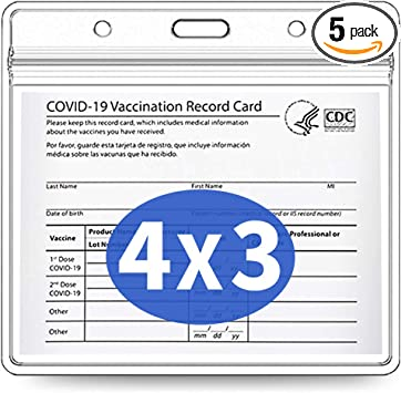 5 Pack-Covid Vaccination Card Protector 4 X 3 Inches Immunization Record Vaccine Cards Holder Clear Vinyl Plastic Sleeve with Waterproof Type Resealable Zip (Card holder only)