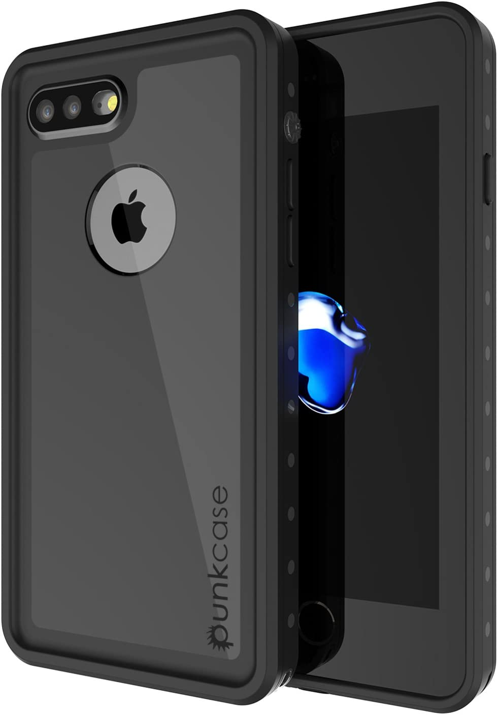 iPhone 7s Plus Waterproof Case, Punkcase [StudStar Series] [Slim Fit] [IP68 Certified] [Shockproof] [Dirtproof] [Snowproof] Armor Cover for Apple iPhone 7 Plus & 7s + [Black]