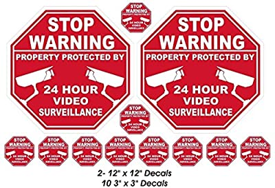 12 Pcs Impressive Unique Stop Warning Property Protected by 24 Hour Video Surveillance Stickers Sign Home Decal Security Decor Hr Decals Trespassing House Neighbor Window Premises 2-Large 10-Small