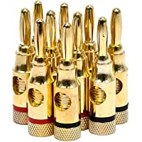 Monoprice 5PRJX74047 Gold Plated Speaker Banana Plugs – 5 Pairs – Open Screw Type, for Speaker Wire, Home Theater, Wall…