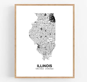Eleville 11X14 Unframed Illinois United States Country View Abstract Road Modern Map Art Print Poster Wall Office Home Decor Minimalist Line Art Hometown Housewarming wgn170