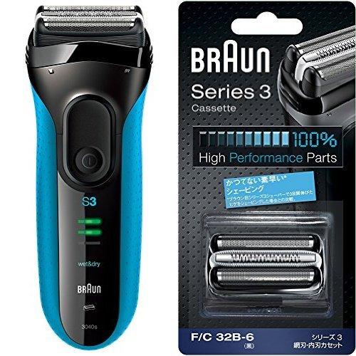ブラウン シリーズ3 メンズシェーバー 3040s 3枚刃 お風呂剃り可+網刃内刃一体型カセット ブラック F/C32B-6 正規品  ブルー B071W7X1K4