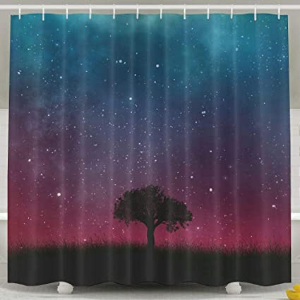 Aurora Starry Sky Tree Beautiful Shower Curtain Repellent Fabric Mildew Resistant Machine Washable Bathroom Anti