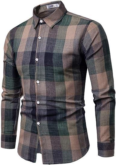 Camisas/Shirt Camisa para Hombre, Manga Larga Hombres Camisa Cuadros Slim fit Camisetas Blusas Tops de Hombre- Shirt Camisa Casual para Hombre: Amazon.es: Ropa y accesorios