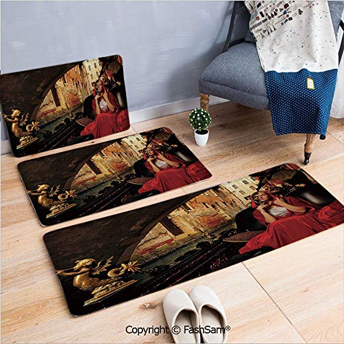 - FashSam 3 Piece Non Slip Flannel Door Mat Young Woman with a Red Cloak and Carnival Mask Riding on Antique Gondola Indoor Carpet for Bath Kitchen(W15.7xL23.6 by W19.6xL31.5 by W31.4xL47.2)