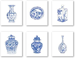 Chinoiserie Wall Art Print-- Bedroom or Study Decor -- Chinese Blue White Porcelain Vase Canvas Print ( Set of 6 )--Unframed--8X10 inch