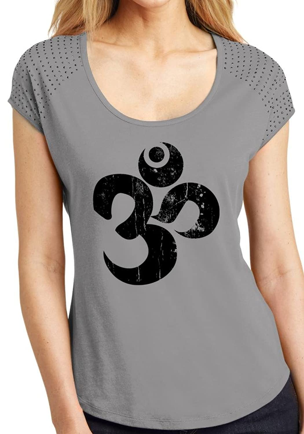 Yoga Clothing For You Ladies Distressed OM Bling Top