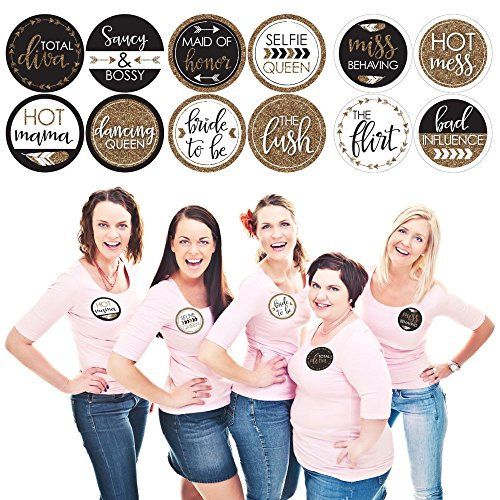 Buttons Bachelorette Party (Bride Tribe - Bridal Shower & Bachelorette Party Name Tags - Party Badges Sticker Set of 12)