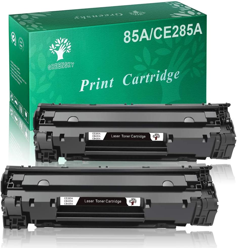 GREENSKY Compatible Toner Cartridge Replacement for HP 85A 35A CB435A 36A CB436A Work with HP Laserjet P1005 P1006 P1102W P1109W M1212NF M1217NFW M1522 Canon LBP6000 MF3010 Printers (Black, 2-Packs)
