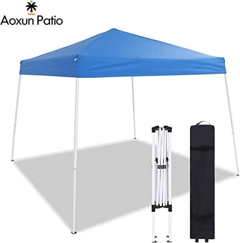 Aoxun Patio Pop-Up Slant Leg Canopy Tent, 10 X 10 FT Reinforced Steel Frame Commercial Instant Shelter with 3 Adjustable Heights, Easy-Carrying Lightweight Canopy with Wheeled Carry Bag Blue