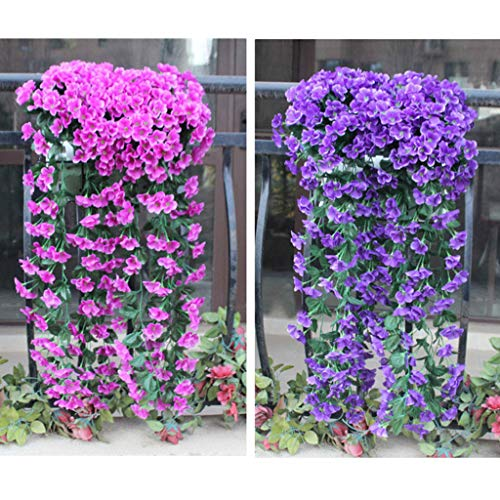 (GotianHanging Flowers Artificial Violet Flower Wall Wisteria Basket Hanging Garland Vine Flowers Fake Silk Orchid, Decro Your House Garden (Purple))