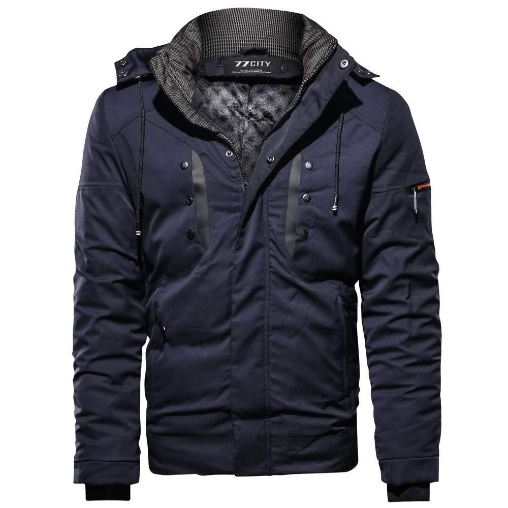conqueror Sweat-Shirt Manteau Respirant de Manteau de Coton d'extérieur de Poche de Coton de Cachemire épaissi par Mode d'hiver d'hommes Rembourrée Veste Warm Winter Hooded Parka Coat Long Jacket