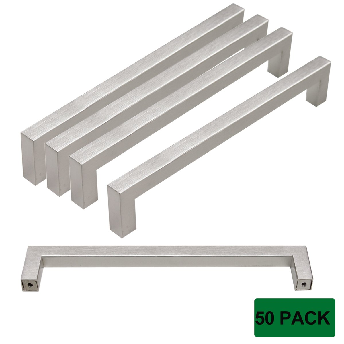 Probrico Kitchen Cabinet Drawer Handles Stainless Steel 7-3/5 Inch Hole Spacing Brushed Nickel Pulls 8 Inch Total Length 50 Pack