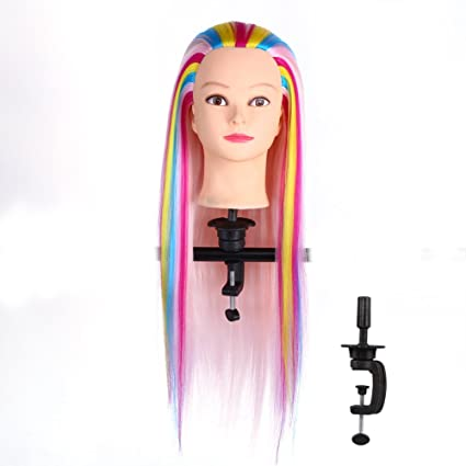 Peluca Cabeza de maquillaje con estilo de cabeza con el pelo largo con la abrazadera (