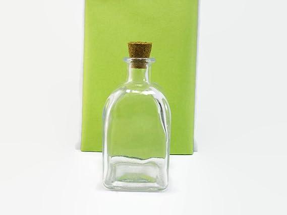 De plástico botella de cristal con tapón de corcho, 100 ml capacidad, forma cuadrada: Amazon.es: Hogar