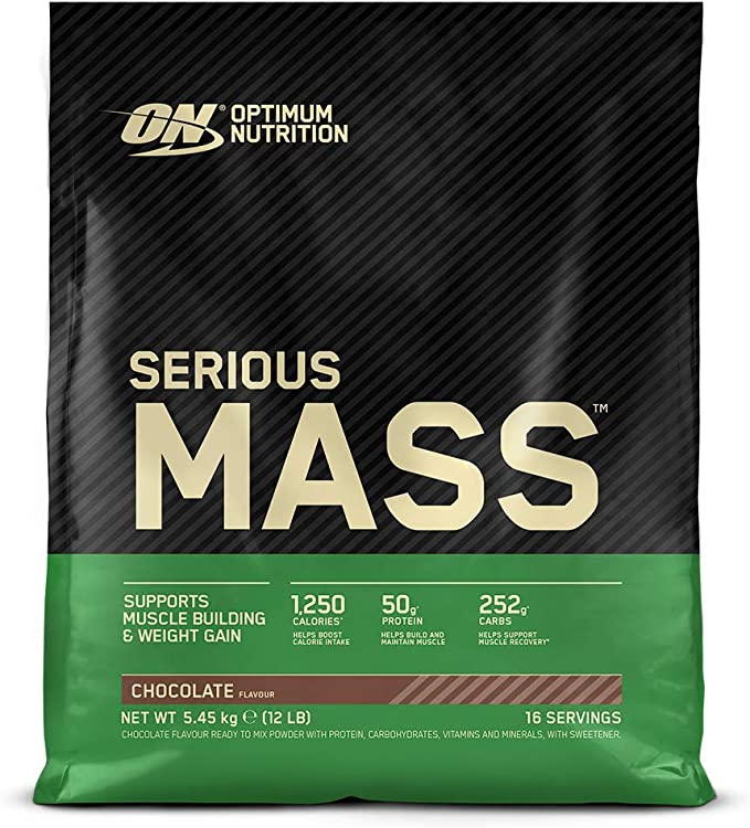 Optimum Nutrition Serious Mass Proteina en Polvo, Mass Gainer Alto en Proteína, con Vitaminas, Creatina y Glutamina, Chocolate, 16 Porciones, 5,45kg, ...