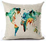 Decorative Pillow Cover - Color World Map Cotton Linen Throw Pillow Case Cushion Cover Home Office Decorative Square 18 X 18 Inches (Blue)