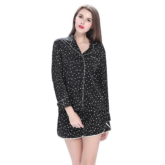 19 Momme Conjunto De Pijamas Corto Negro De Seda Con Estrellas Centellantes