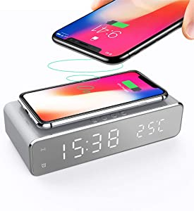 Docreate Digital Alarm Clock with Wireless Charger,LED Desk Alarm Clock with Thermometer and Time, 10W Qi-Certified Wireless Charger for Bedroom, Home & Office-Sliver