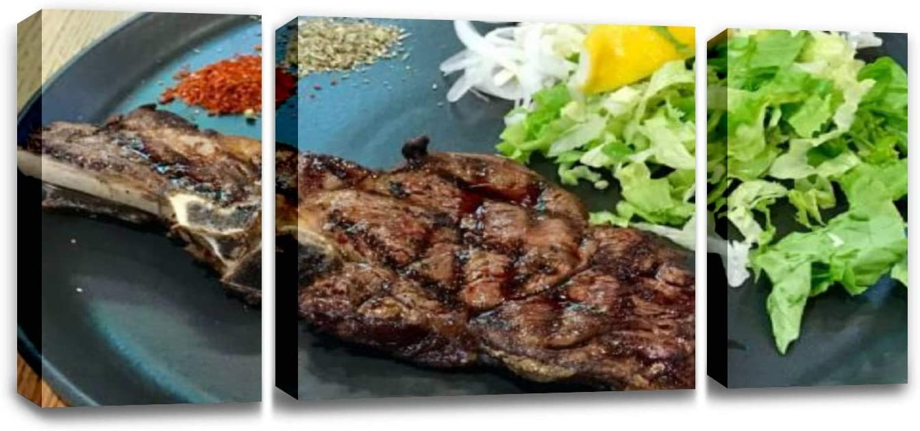 CCArtist Big Veal chop Steak with Salad Served in Black Plate Tomahawk Steaks Wall Decoration Print Photo on Canvas Modern Photography Home Decor Modern Canvas Painting Wall Art