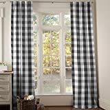 Carousel Designs Onyx and Cloud Gray Buffalo Check Drape Panel 96-Inch Length Standard Lining 42-Inch Width