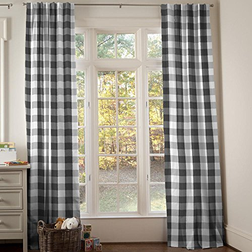 Carousel Designs Onyx and Cloud Gray Buffalo Check Drape Panel 84-Inch Length Standard Lining 42-Inch (Check Drapery)