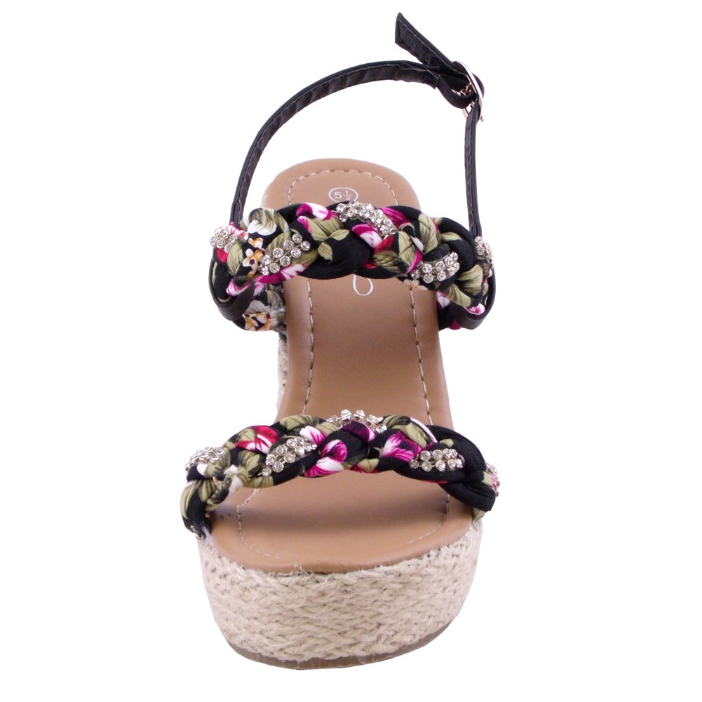 Adalia Flower Platform Wedge Sandal Black