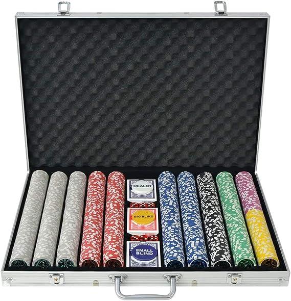 vidaXL Juego de Póker con Maletín y 1000 Fichas Láser Aluminio Set ...