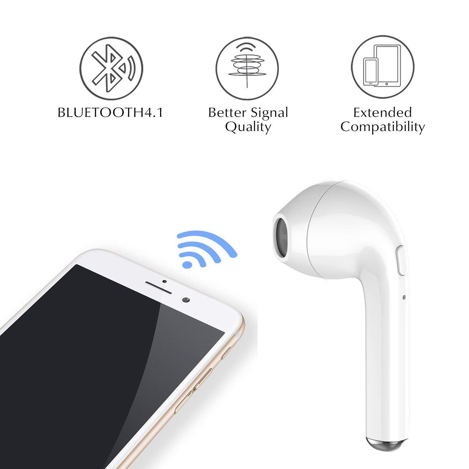 wireless Bluetooth headset, bass HiFi stereo in-ear headphones, with charging box and noise reduction, sweat-proof sports headphones built-in microphone, compatible with iphone, Android and other Blue