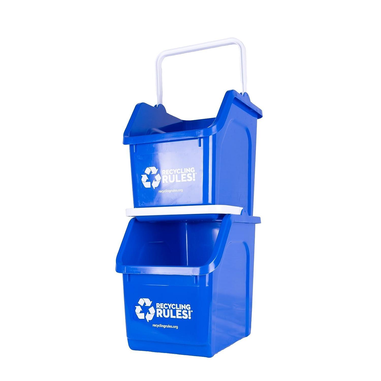 Azul apilable Cubo de reciclaje de recipiente con asa 6 Gallon ...