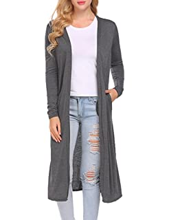 2622f96181 Women s Long Sleeve Open Front Drape Duster Maxi Long Cardigan with Side  Slits