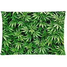 Marijuana Weed Leaf Nature Green Lifestyle Soft Zippered Cushion Throw Case Pillow Case 20x30 inch (one side) Best Gift