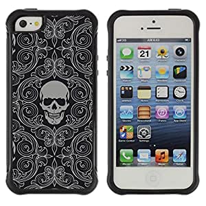 All-Round híbrido Heavy Duty de goma duro caso cubierta protectora Accesorio Generación-II BY RAYDREAMMM - Apple iPhone 5 / 5S - Skull Wallpaper Grey Skeleton Head Pattern