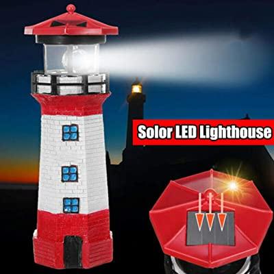 m·kvfa Waterproof Solar Powered Lighthouse LED Light Lantern Ornament Path Light for Garden Sculpture Yard Lawn Park : Garden & Outdoor