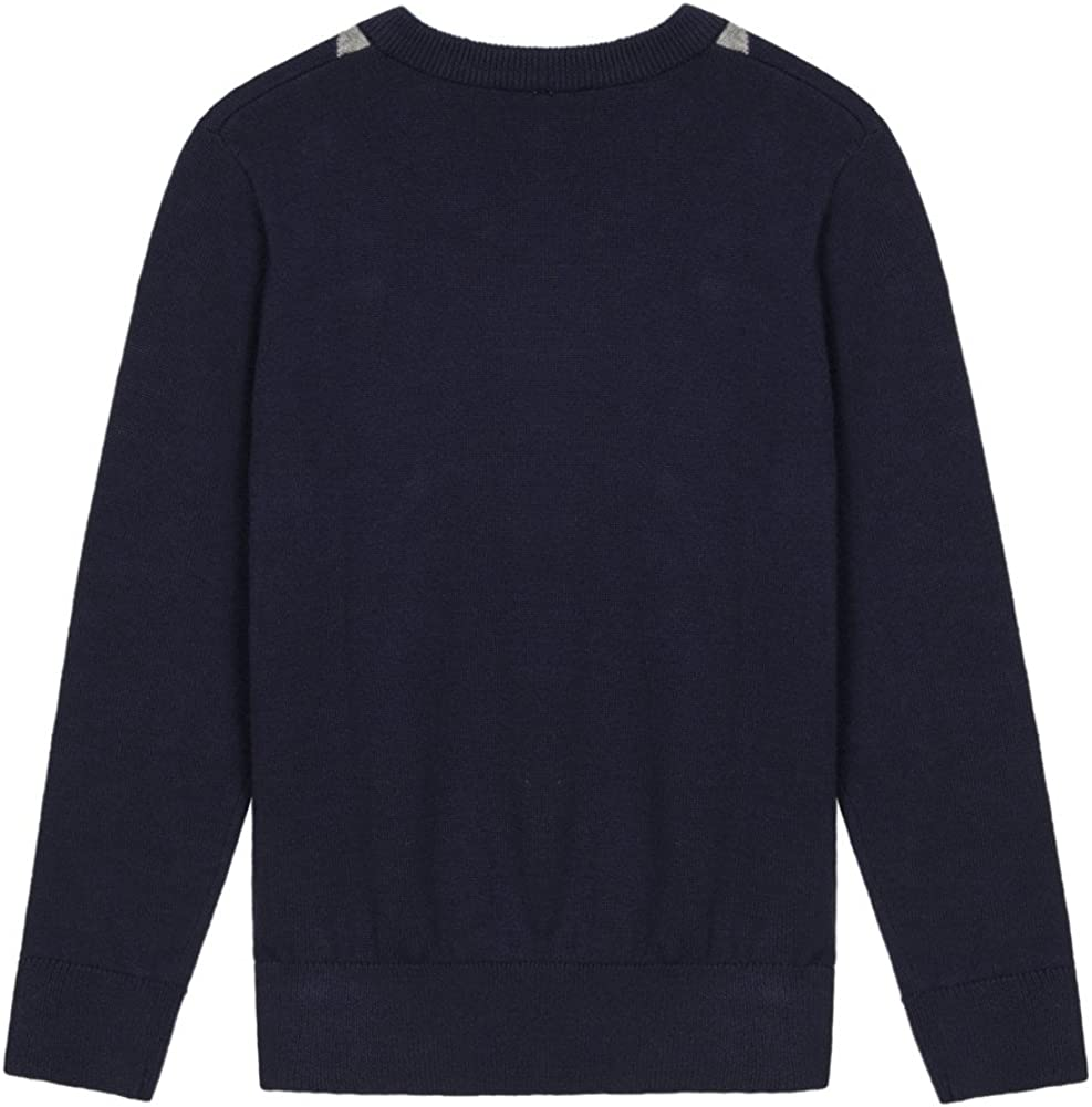 Benito /& Benita Boys Uniform Sweater V-Neck Cotton Pullover Cable Knit Sweater for 5-12Y Kids Navy