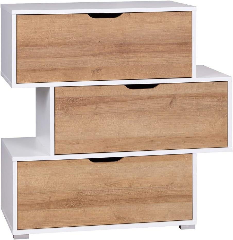 per soggiorno in rovere bianco opaco DOMTECH colore: bianco camera da letto o cameretta dei bambini Mobiletto con 3 cassetti multiuso