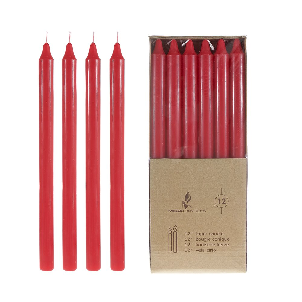 """New Unscented 10/"""" Taper Candles Set of 12 Free Shipping Red Mega Candles"""