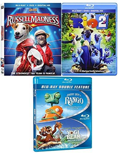 (Monkeys Bears & Birds Adventure Movie Pack Rango Blu Ray + Yogi Bear / Rio 2 & Russell Madness awesome Family 4 movie Set)