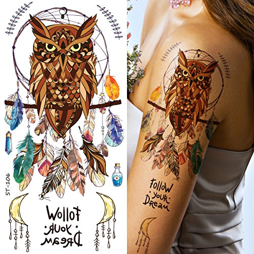 Supperb Temporary Tattoos - Owl Dream Catcher feather Dreamcatcher Colorful Bohemian Tattoo
