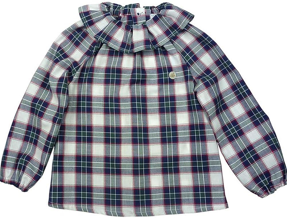 FOQUE - Blusa de Cuadros para niña. Corte Amplio. Cuello Volante. Cierre con Botones en la Espalda. Hecho en España (Azul, Blanco, Rojo, 6 años): Amazon.es: Ropa y accesorios
