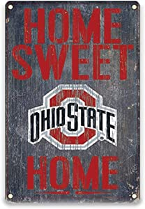 YOMIA Garage Decorations for Men - Football Team Decoration for Ohio State Buckeyes Tin Signs 20x30cm