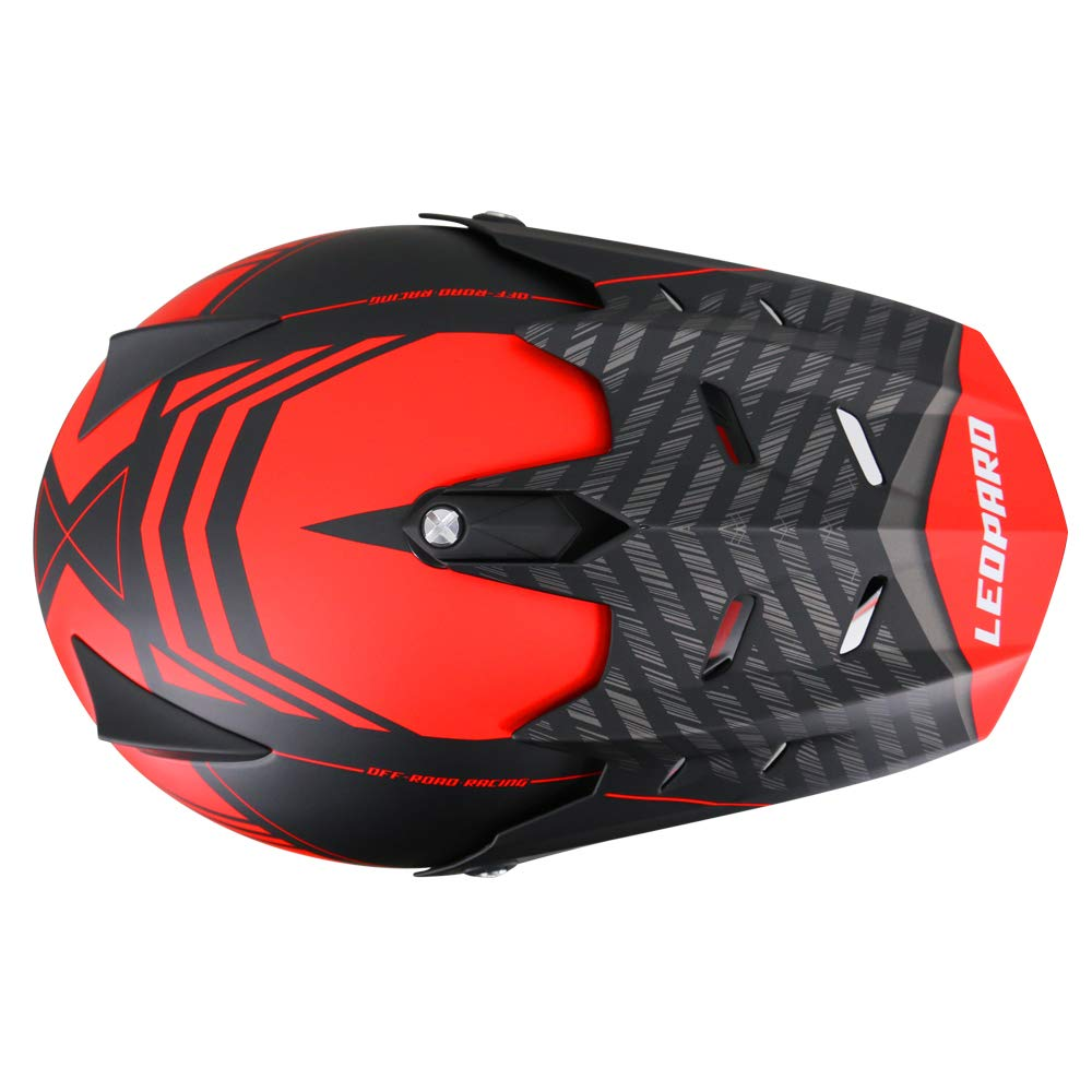 10cm + Goggles} Motorbike Motorcycle MX Helmet Leopard LEO-X307 Motocross Helmet set {Matt Black L + Gloves L 59-60cm