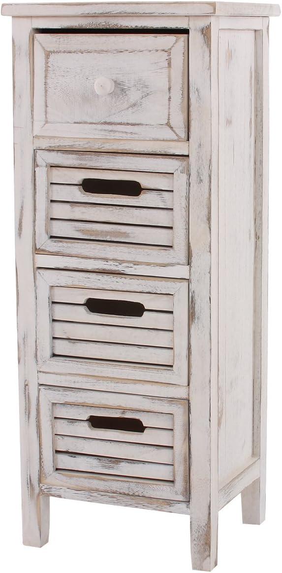 Mendler Serie vintage scaffale cassettiera legno paulonia 4 cassetti 25x30x74cm bianco