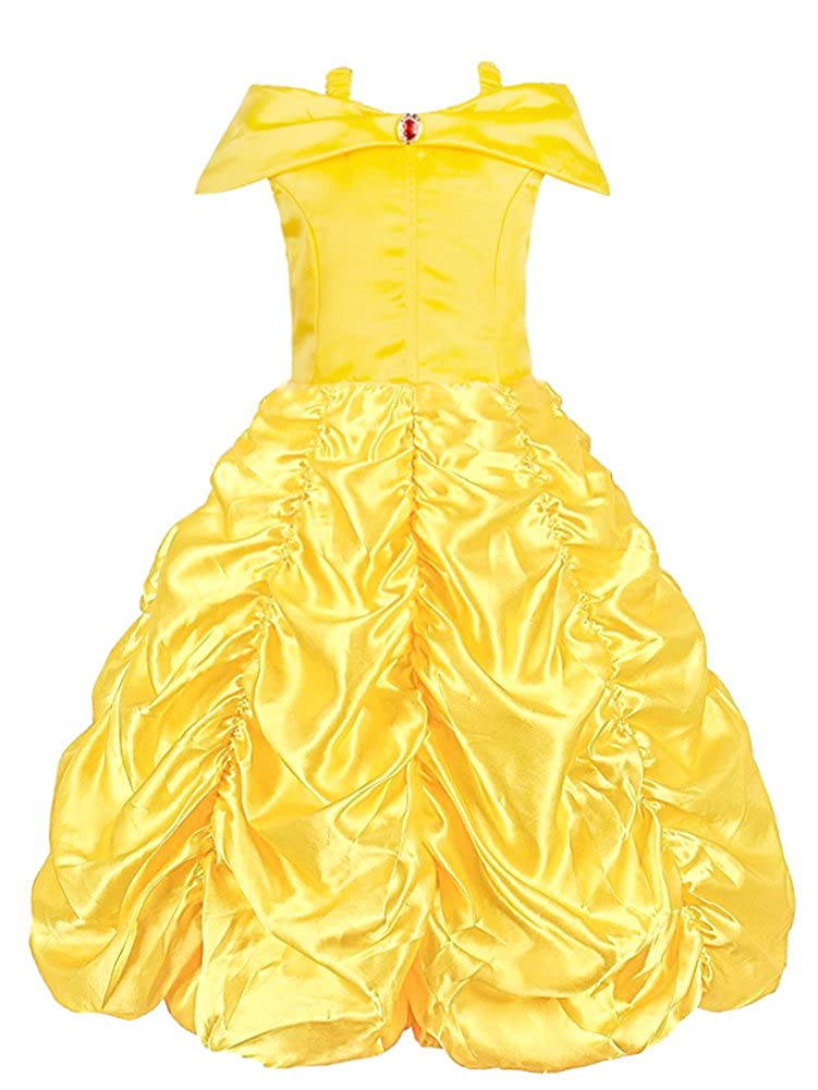 KABETY Little Girls Layered Princess Belle Costume Party Dress Up