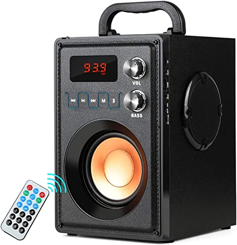TAMPROAD 20W Portable Bluetooth Speaker with Subwoofer Rich Bass Wireless Stereo Outdoor Indoor Speakers Support Remote Control FM Radio TF Card LCD Display for Home Party Smartphone Computer PC