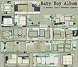 Baby Boy Album Scrapbook Set - 13 Double Page Layouts