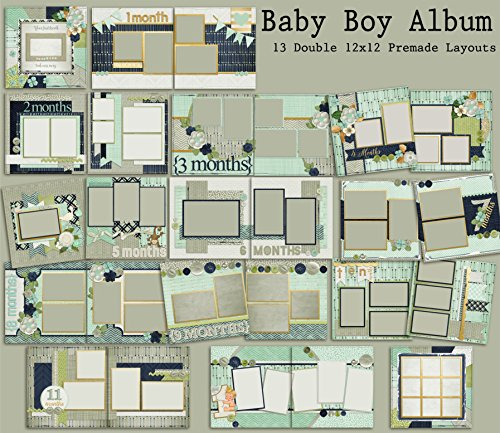 Baby Boy Album Scrapbook Set - 13 Double Page Layouts
